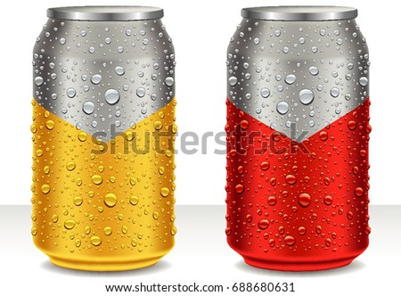 aluminum tin cans in golden and