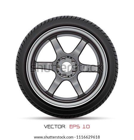 Aluminum wheel car tire style racing on white background vector illustration.