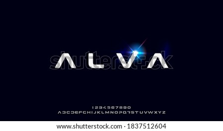 Alva, a bold and futuristic font, modern scifi typeface design. Alphabet vector illustration
