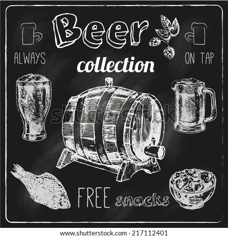 Always free salted snacks tap beer bar chalk blackboard advertisement icons collection sketch vector isolated illustration