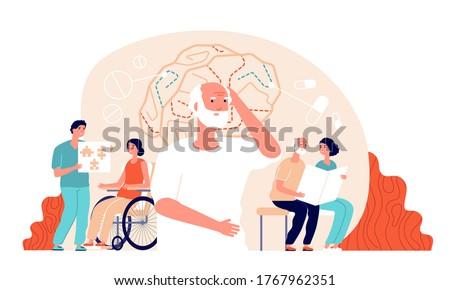 Alzheimer disease. Illness neurology therapy. Elderly loss memory, brain treatment. Senior patient medical rehabilitation vector concept