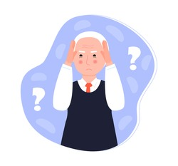 Alzheimer old man, neurology health care, Parkinson or dementia metaphor are shown. Senses diseases  for website. International Day of Older Persons.