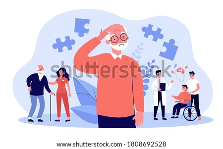 Alzheimer patients concept. People suffering from brain disease and memory loss, getting medical help. Vector illustration for neurology therapy, mental illness risk topics