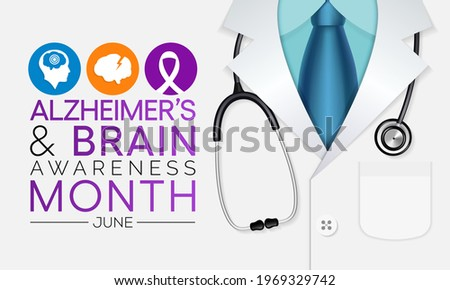 Alzheimer's and Brain awareness month is observed every year in June. it is an irreversible, progressive brain disorder that slowly destroys memory and thinking skills. Vector illustration.