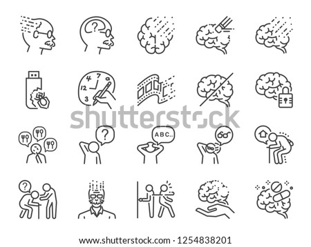 Alzheimer's & Brain Awareness line icon set. Included the icons as Alzheimer, brain disease, Savant syndrome, mental disabilities, Down syndrome and more.