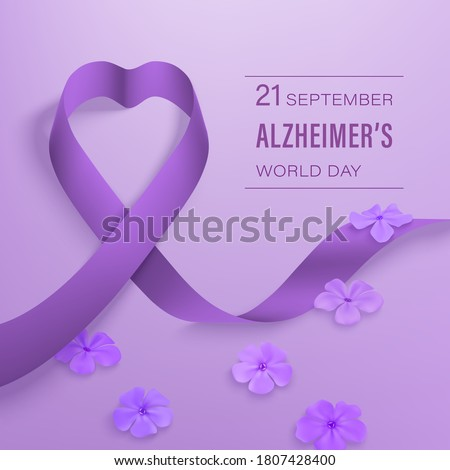 Alzheimer's world day September 21 card with photorealistic purple ribbon, Phlox flowers on a light purple background. Vector illustration.