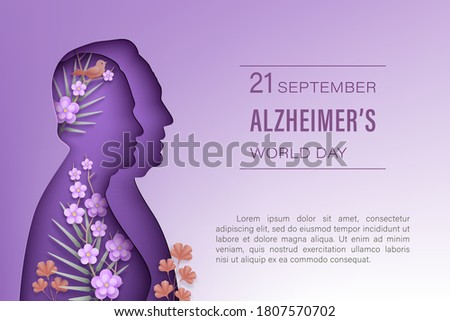Alzheimer's world  day September 21. Elderly man and woman silhouettes in paper cut style with shadow on a purple background. Front view woman, man, flowers, branches, bird. Vector illustration.