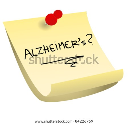 Alzheimer's yellow sticky note