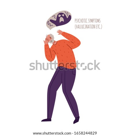 Alzheimers or Parkinsons disease old people with dementia symptoms, scared aged senior man with mental problems, hallucinations, fear, delirium and psychosis - vector isolated person on white Stockfoto ©
