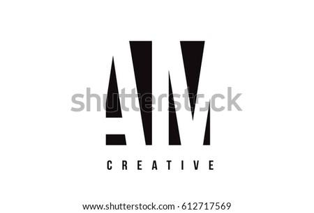 am a m white letter logo design