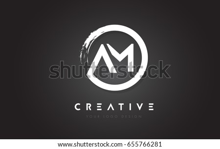 AM Circular Letter Logo with Circle Brush Design and Black Background.