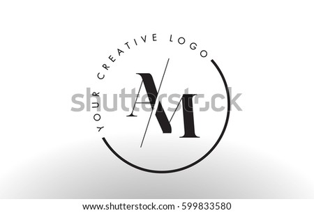AM Letter Logo Design with Creative Intersected and Cutted Serif Font.