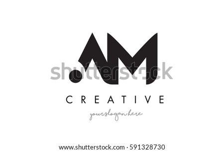 AM Letter Logo Design with Creative Modern Trendy Typography and Black Colors.