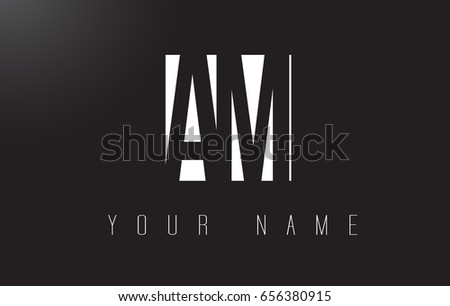 AM Letter Logo With Black and White Letters Negative Space Design.