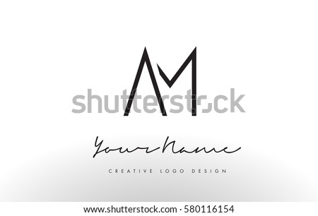 am letters logo design slim