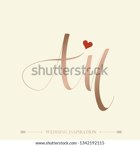 AM wedding signature monogram.Calligraphic rose gold color lettering icon.Typographic logo with romantic, feminine script letter a and letter m.Handwritten initials with heart shape.