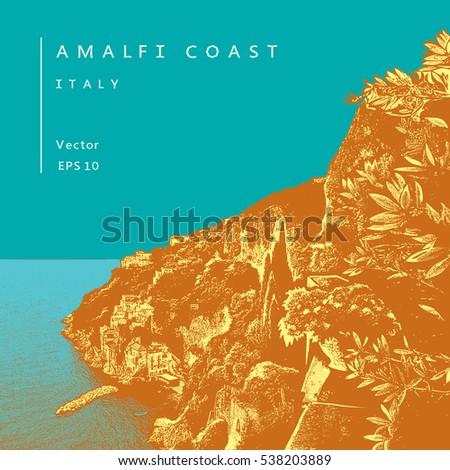 amalfi coast  italy colored