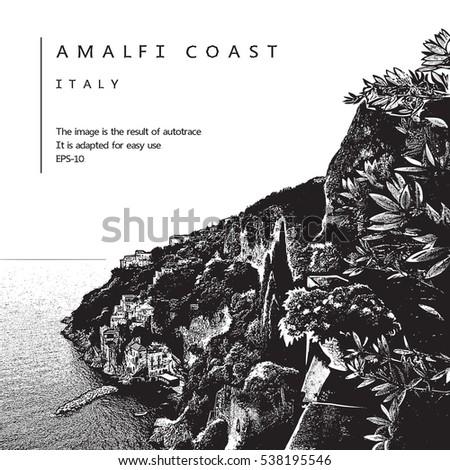 amalfi coast  italy vector