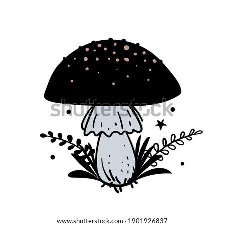 Amanita, magic black mushroom with plant branches, boho hand drawn illustration, magic witch tattoo. Vector doodle illustration isolated on white background