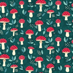Amanita mushroom seamless pattern design - cute red mushrooms with white dots on green background