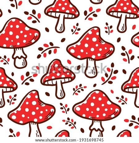 Amanita mushroom seamless pattern. Vector cartoon illustration icon design. Amanita mushroom seamless pattern concept