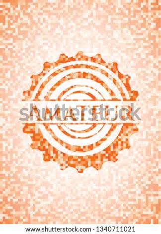 Amateur abstract orange mosaic emblem