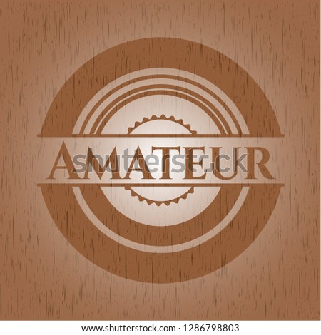 Amateur badge with wood background