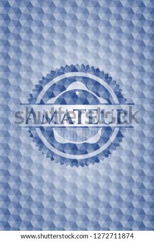 Amateur blue hexagon badge.