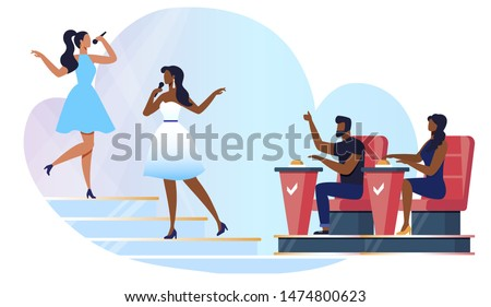 Amateur Singing Competition Vector Illustration. Talented Singers and Judges Sitting in Armchairs Cartoon Characters. Women in Fashionable Dresses with Microphones. Young Duet Performance