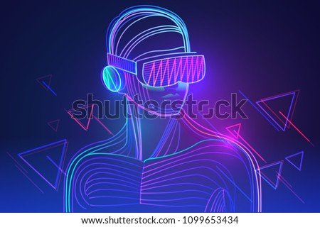 Amazed man wearing virtual reality headset. Abstract vr world with neon lines. Vector illustration