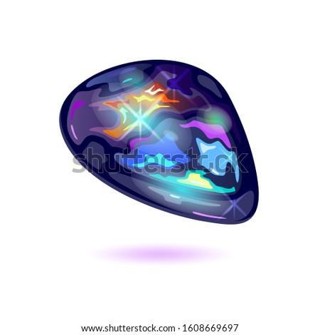 Amazing black fire opal. Iridescent mineral, precious stone for jewelry, bijouterie, fashion shops, stores, showcases, websites. Imagine de stoc ©