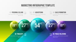 Amazing business infographic presentation vector 3D colorful balls illustration. Corporate marketing analytics data report design layout. Company statistics information graphic visualization template