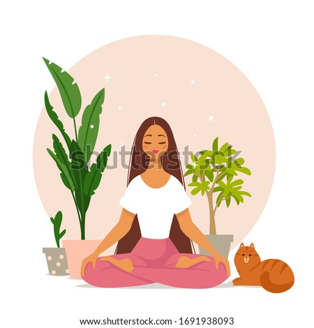 Amazing cartoon girl in yoga lotus pose with cute cat at home. Practicing yoga. Vector illustration. Young and happy woman meditates.