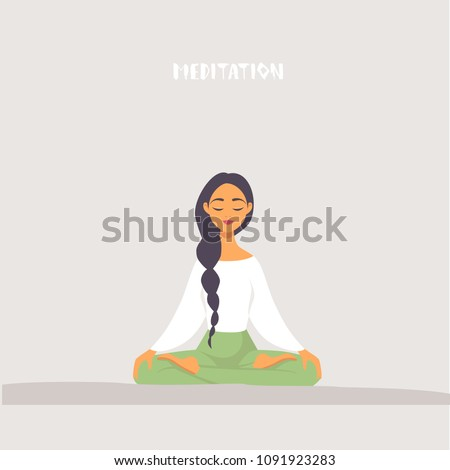 Amazing cartoon girl in yoga lotus practices meditation. Practice of yoga. Vector illustration. Young and happy woman meditating
