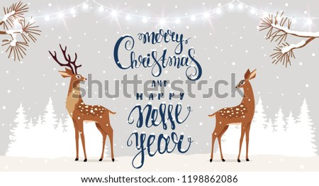 Amazing Christmas and New Year design with two stylized deers. Amazing winter holiday card. Vector illustration