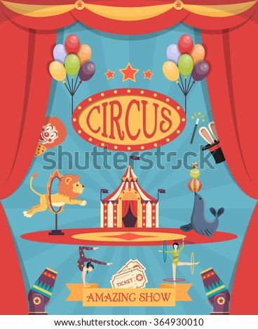 amazing circus show poster with
