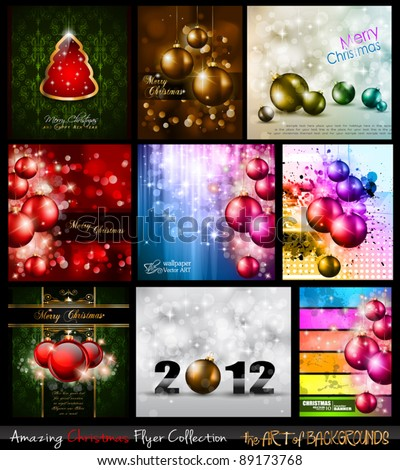 Amazing Collection of Christmas Flyers: 9 stunning background for Seasonal Greetings .