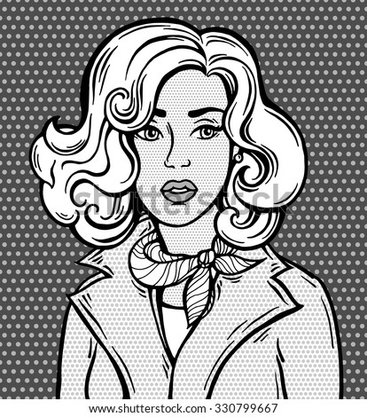 Amazing comic girl. Pop Art style poster. Dots background, raster effect. Vector fashion illustration. Hand drawn portrait sketch. Comics story. Black and white, grey. Banner for branding, logo, label