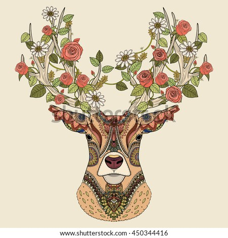Amazing deer head coloring page in exquisite style