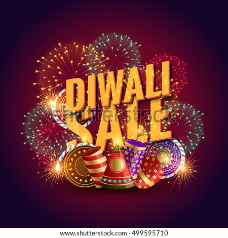 amazing diwali sale voucher with festival crackers and fireworks #499595710