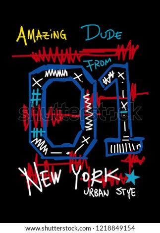 amazing dude, from new york,t-shirt design