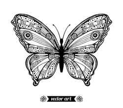 Amazing fly butterfly. Vector. Creative bohemia concept for wedding invitations, cards, tickets, congratulations, branding, logo, label. Black and white