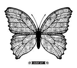 Amazing fly butterfly, wildlife insect, dots spiral circle. Vector. Creative bohemia concept for wedding invitations, cards, tickets, congratulations, branding, logo, label Black and white