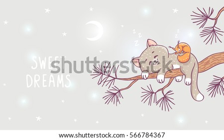 Stock Photo Amazing illustration with cute kitten and squirrel sleeping on a branch of pine. Stylish vector illustration. Beautiful cartoon animals.
