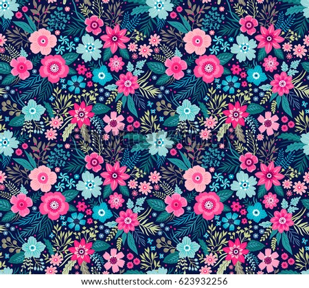 Amazing Seamless Floral Pattern With Bright Colorful Flowers And Leaves On  A Dark Blue Background.