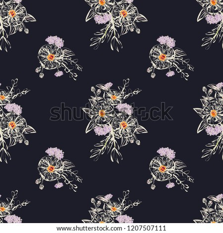 Amazing seamless plant pattern in contour flowers. Floral cute background for textile, wallpaper, covers, surface, print, gift wrap, scrapbooking, decoupage.