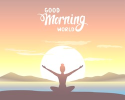 Amazing silhouette woman sitting in Lotus pose and welcomes the sun. Practicing yoga. Vector illustration. Beautiful view at sunrise