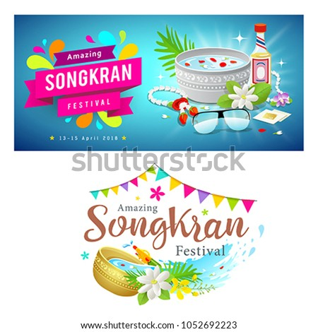 Amazing Thailand Songkran festival banners collections background, vector illustration