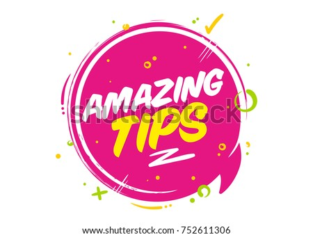 Amazing Tips Vector Pink Bubble Isolated on White. Rounded Icon with Typography and Geometric Elements for Post or Article about Interesting Facts or Life Hacks. Label for Blog, Social Media.