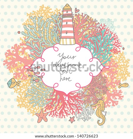 Stock Photo Amazing vector coral reef frame with lighthouse, fishes, seahorse and starfishes. Elegant marine background with place for text.